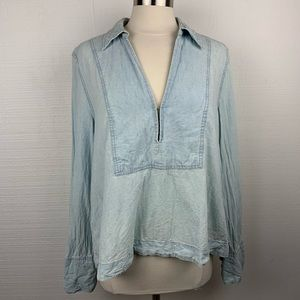 Free People Light Blue Chambray Long Sleeve Top